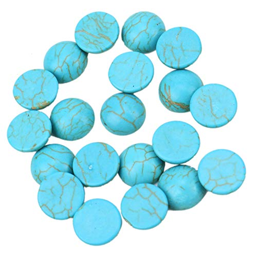 WSSROGY 20Pcs 12mm Turquoise Dome Cabochons Half Round Flatbacks for Jewelry ()