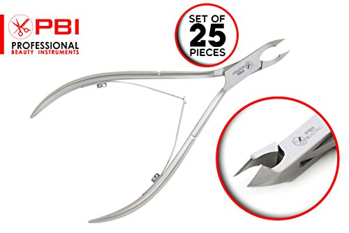 Cuticle nipper - cuticle cutter - cuticle plier - manicure pedicure cuticle nipper - double spring nipper - 11.8 cm - 25 pieces set - Stainless Steel from PBI by PBI professional beauty instruments