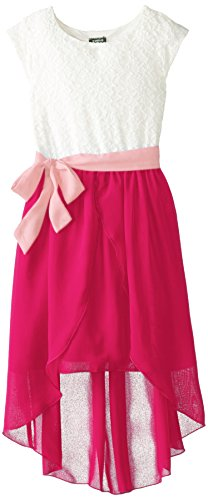 ZUNIE Big Girls' Lace To Chiffon Dress With Double Tulip Skirt, Ivory/Cranberry, (Big Tulip)