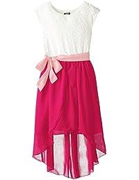 Big Girls' Lace to Chiffon Dress with Double-Tulip Skirt