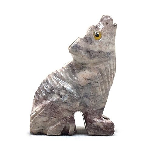 Nelson Creations, LLC Wolf Sitting Natural Soapstone Hand-Carved Animal Charm Totem Stone Carving Figurine, 1.5 Inch