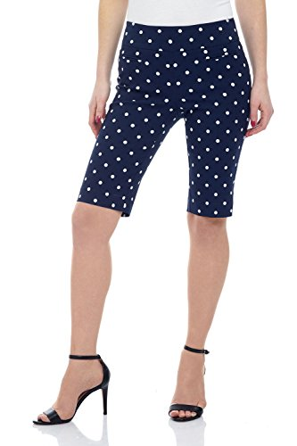 Rekucci Women's Ease in to Comfort Fit Pull-On Modern City Shorts (12,Navy/Ivory Dot) ()