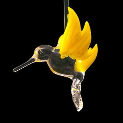 Hand Blown Glass Hanging Hummingbird with Yellow Wings Ornament