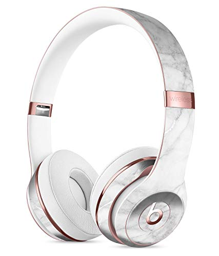 (White Scratched Marble DesignSkinz Full-Body Skin Kit for The Beats by Dre Solo 3 Wireless Headphones/Ultra-Thin/Matte Finished/Protective Skin Wrap)