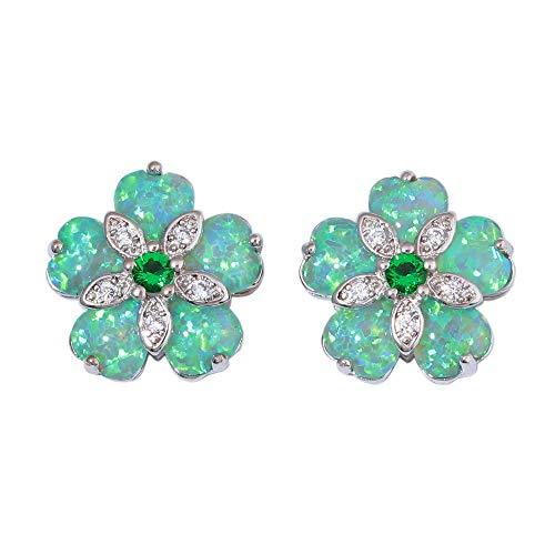 CiNily Christmas Jewelry Gifts Flower Opal Earrings Stud, Emerald Zircon Rhodium Plated Women Jewelry Gemstone Stud Earrings 15mm
