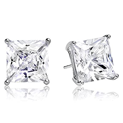 Princess Cut Square Cz Basket Set 925 Sterling Silver Unisex Stud Earrings