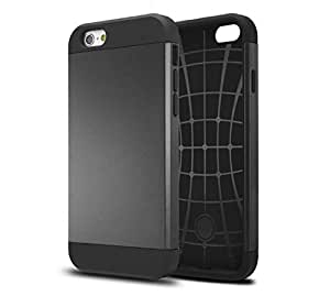 Iphone 6 Case, Armor Protection Cover Case for Iphone 6 Plus 5.5 Inch,double Layer Shock Absorbing, Retail Packaging (Black)