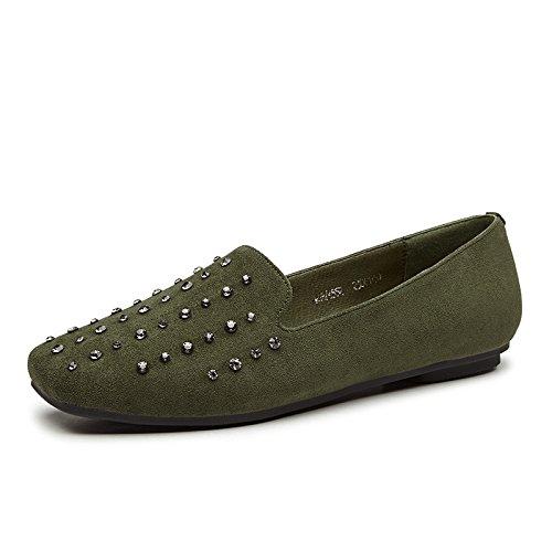Otoño Mujer verde De Bajo Zapatos GAOLIM Chica De Plana Cabeza Los Zapatos Ejército De Los Zapatos Zapatos Con Tacón Sock Alto Mujer De Suaves 4SP4q
