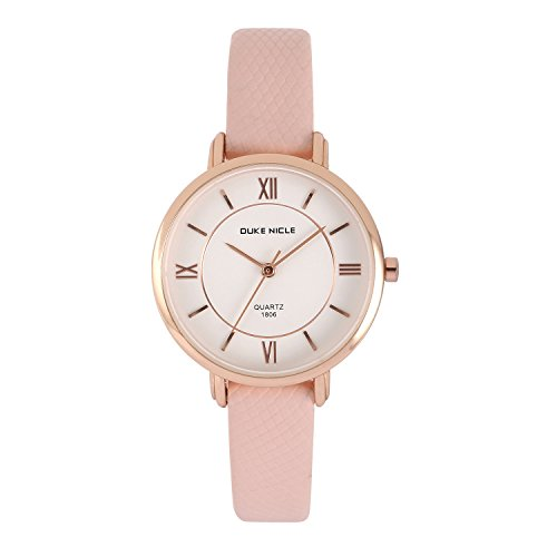 Womens Fashion Watch,Ladies Elegant Waterproof Quartz Rose Gold Case Roman Numeral Casual Wrist Watches with Soft Genuine Leather Band (Red/Black) (Pink)
