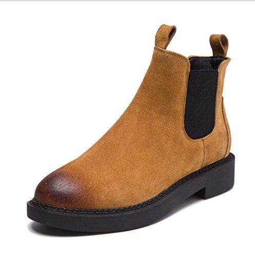 Botas Casual Botas Redondos Brown Invierno Únicas Cuero Moda Zapatos Martin Retro De Otoño E Botas wRApP0