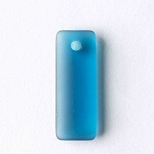 Glass Rectangle Beads (Cherry Blossom Beads Top Drilled Peacock Blue Cultured Sea Glass 12x32mm Rectangle Pendants - 8 Per Bag)
