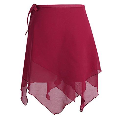 YiZYiF Damen Ballettrock Ballett Rock Ballettröckchen aus Chiffon Minirock Tanz-bekleidung in rosa, weiß, schwarz, weinrot Weinrot