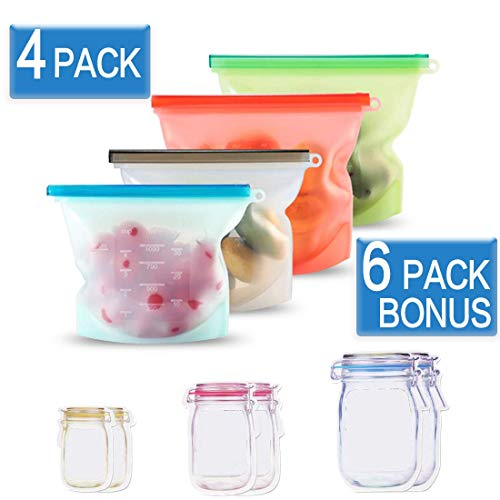Reusable Silicone Food Storage Bags,Mason Jar Zipper Bags [10 Pack] Leakproof Ziplock Bags Food Saver Container Bags for Sandwich,Snack,Meat, Fruit and Vegetables