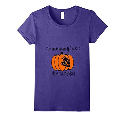 Pregnancy Themed Halloween Costumes (Womens Little Pumpkin Maternity Shirt Halloween Costume T Shirt Medium Purple)