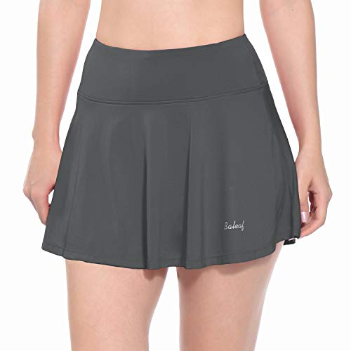 Baleaf Women's Athletic Skort Pleated Tennis Golf Skirt with Pockets Grey Size M ()