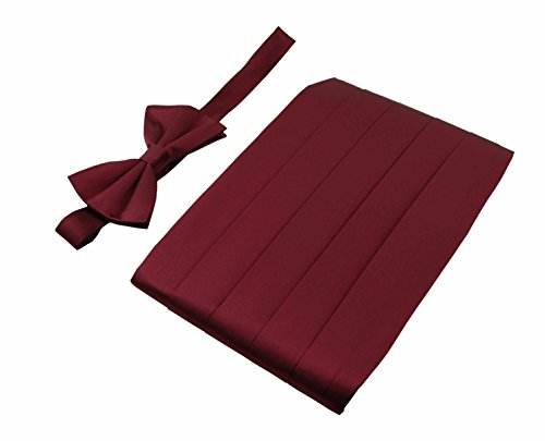 Men's 100% Pure Silk Cummerbund & Bow Tie Set - Multi Colors (Burgundy) (Cummerbund Set Burgundy)