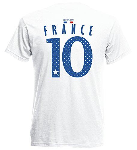 Frankreich France Herren T-Shirt Nummer 10 Trikot Fußball Mini EM 2016 T-Shirt - S M L XL XXL - weiss NC ST-1