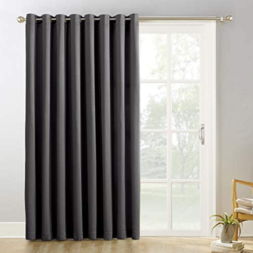 Sun Zero Easton Extra-Wide Blackout Sliding Patio Door Curtain Panel with Pull Wand, 100 x 84 , Charcoal Gray