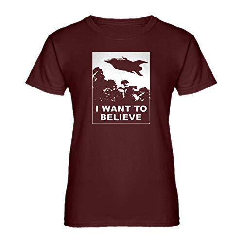 Indica Plateau Womens I Want to Believe Planet Express X-Large Maroon T-Shirt ()