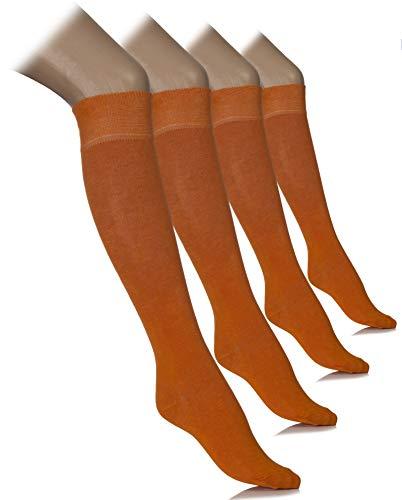 Women Knee High Dress Socks Comfort Seam (Golden Poppy, Shoe size: 8-11)