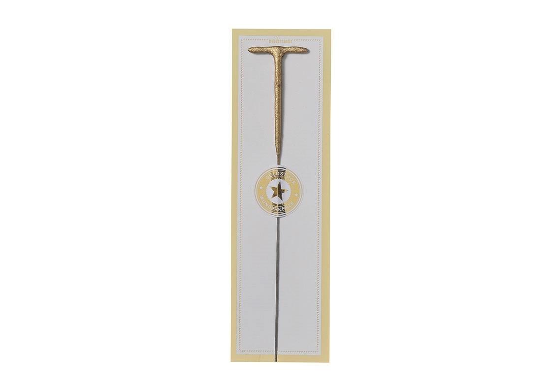 Hotex Wunderkerze Buchstabe T - 20,0 x 6,0 cm Gold - ALS Partyzubehör oder Geschenk