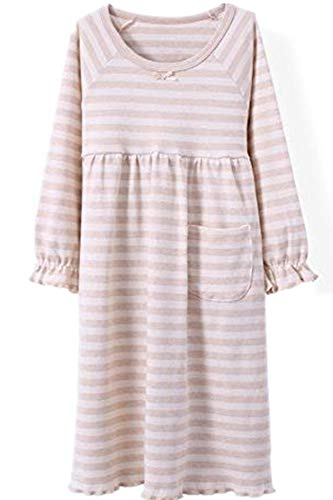 HOYMN Girls' Nightgowns & Sleep Shirts Cotton Sleepwear for Toddler 2-11 Years (6-7 Years, Lotus Wide Stripe Beige) ()