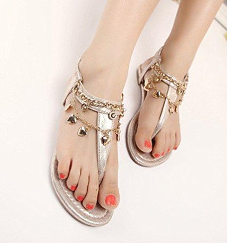 NiSeng Mujer Casual T-Strap Sandalias Bohemia Peep Toe Sandalias Piso Playa Sandalias Dorado