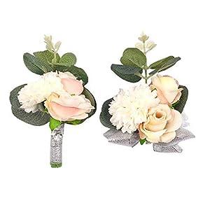 Abbie Home Wedding Wrist Corsage Brooch Boutonniere Set Party Prom Hand Flower Decor (Set 520) 42