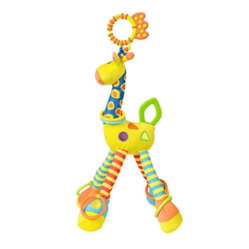 Giraffe Rattle Handbells Plush Toy Infant Musical Developmental Toys for Crib, Stroller, Chair, Car