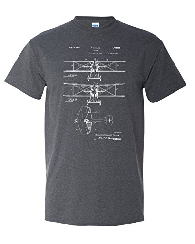 (1929 Biplane Patent Airplane Pilot Aviation WWI WW2 World War Bi-Plane Vintage Graphic Adult Tee Men's T-Shirt (Small))