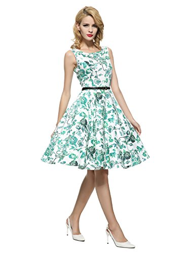 Maggie Tang 50s Vintage Cocktail Swing Rockabilly Dress White&Green Flowers L