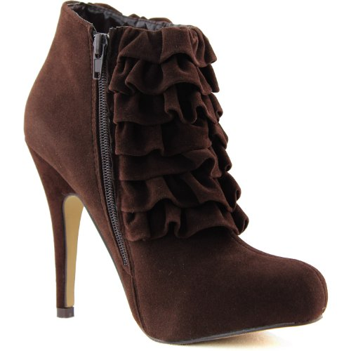 Shoes Toe 06 Ankle Round Brown Booties Smooth Womens Yama Brown Velvet zYABAZ