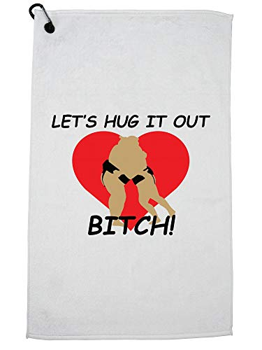Hollywood Thread Let's Hug It Out Bitch - Sumo Wrestling Heart Golf Towel Carabiner Clip by Hollywood Thread