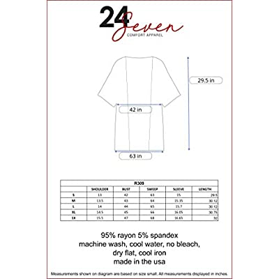24seven Comfort Apparel Women's 3/4 Sleeve Open Front Cardigan - Made in USA - (Sizes S-1XL) Machine Washable at Women's Clothing store
