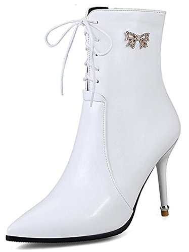 IDIFU Womens Sexy Rhinestone Zip Up Pointed Toe Ankle High Booties Stiletto Heels White r0h6eZIOYv