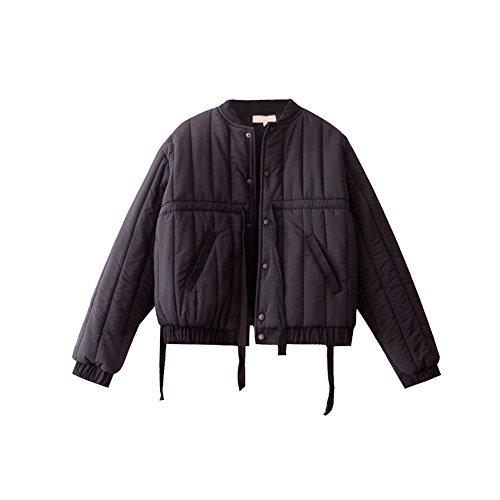 chaqueta de larga corto de invierno manga de párrafo mujer abrigo Algodón Argelia Negro algodón negro suelto 8vFqXX