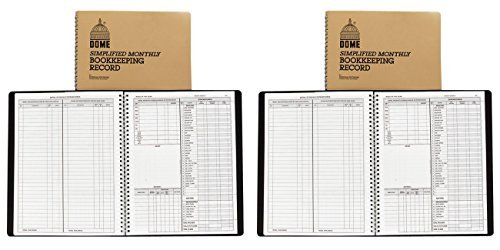 Bookkeeping Record Book Weekly 128 Pages 9 x11 Inches, Brown, 2 Packs