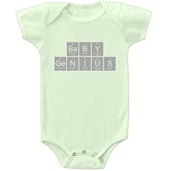 26 Degrees Forward Green Organic Cotton Baby Genius Periodic Table Onesie, 18 Months
