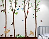 Birch Tree Forest Set with Deer and Flying Birds, Bambi and Squirrels Butterflies Baby Giant Wall Sticker Decals #1221 (9ft Tall)