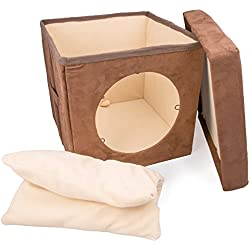 Original ZEN DEN Cat Hideaway Ottoman by Easyology -Enclosed Condo, Covered Cube Cat Bed, 100% Pet Friendly and Soft, Comfortable- Connects To Our Cat Tunnels to Make a Fun Interactive Play Toy