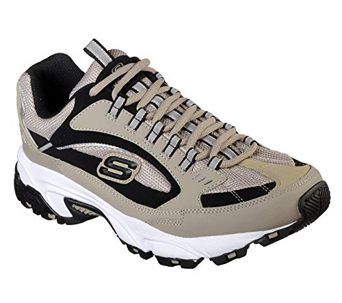 Skechers Men's Stamina Cutback Oxford, Taupe/Black, 11.5 2E US by Skechers