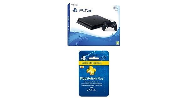 PlayStation 4 Slim (PS4) - Consola de 500 GB + PSN Plus Tarjeta 90 Días - Reedición: Amazon.es: Videojuegos