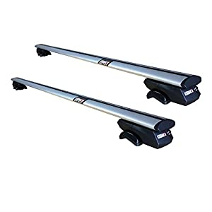 "Kodiak AeroGrip 53"" Universal Roof Rack Crossbars - Fully Adjustable 41"" to 48"" Width Grips - Ultra Secure Cross Bars to Carry Your Roof Box, Bicycle & Kayak Safely - Fits Raised Side Rails with Gap"