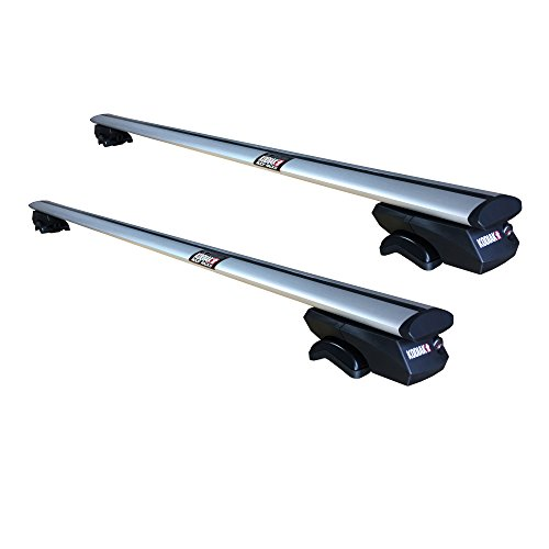 Kodiak AeroGrip 53' Universal Locking Roof Rack Crossbars - Ultra Secure Strap Lock Technology - Fully Adjustable Bars to Carry Your Roof Box , Bicycle & Kayak Safely - Fits Raised Side Rails