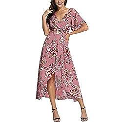 Printed Beach Skirt Ladies Summer V Neck Short Sleeved High Waist Party Wedding Dress Dress Dress Meeya Pink