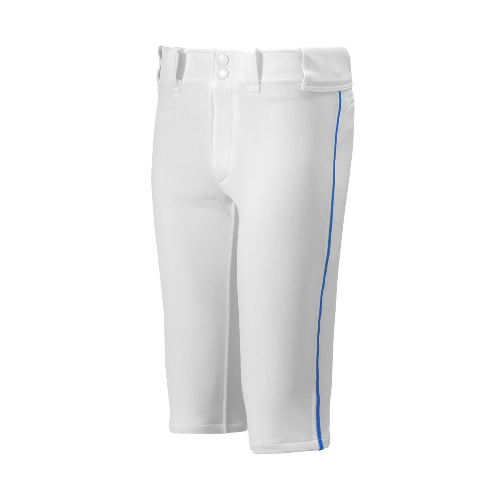 Mizuno Youth Premier Piped Short Baseball Pant, White-Royal, Youth XX-Large by Mizuno