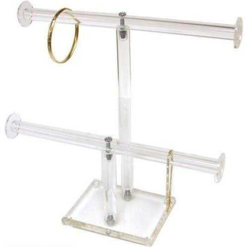 FindingKing 2 Tier Clear Acrylic T-Bar Bracelet Necklace Jewelry Displays Stands