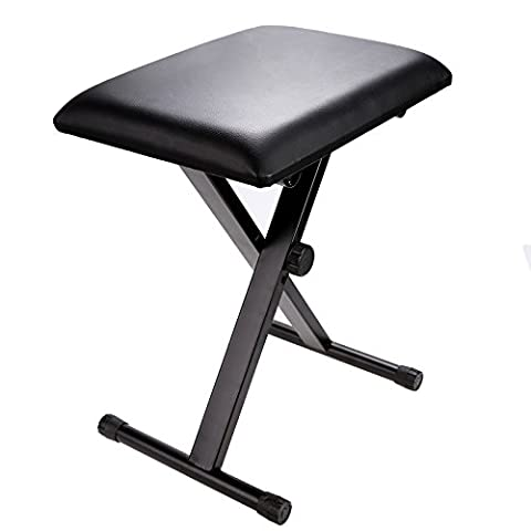 Homdox Adjustable Chair Piano Keyboard Bench Leather Padded Seat Rubber Feet Folding Stool Chair