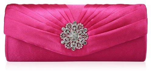 Womens Crystal Floral Satin Pleated Evening Clutch Bag (26cm x 10cm) with PreciousBags Dust Bag