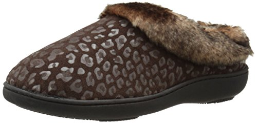 Cheetah Fur Flats (Isotoner Women's Cheetah Microsuede Faux Fur Flat, Chocolate, 6.5-7 M)